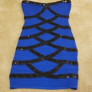 2B Bebe strapless sequin dress,  Size S